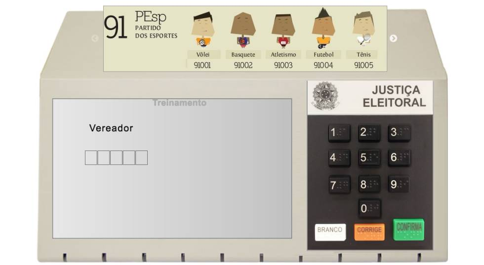 Simulador de voto do TSE.