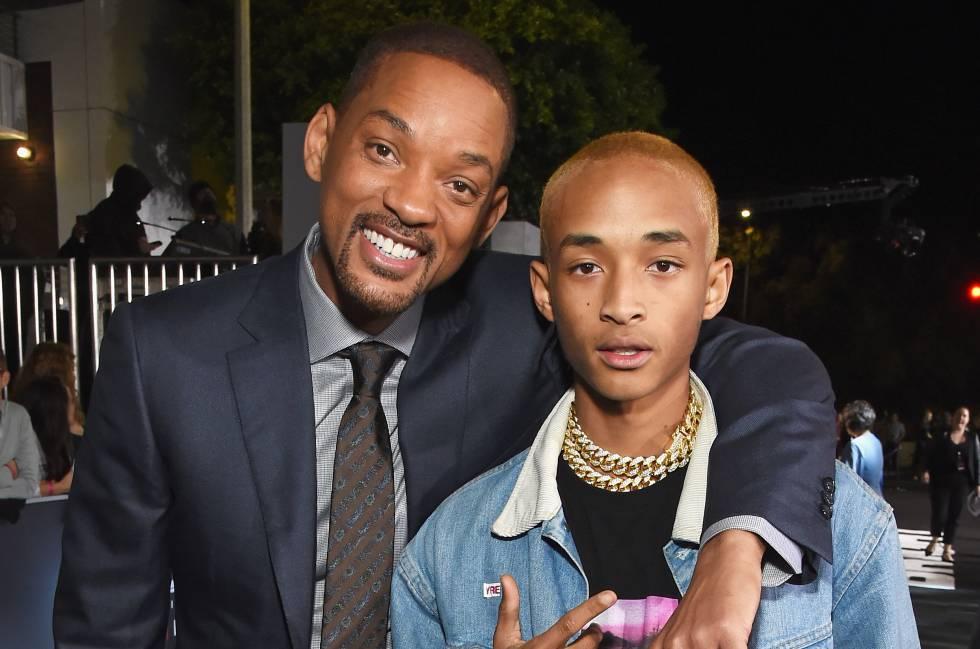 Will Smith e seu filho Jaden na estreia de 'Bright', em Los Angeles