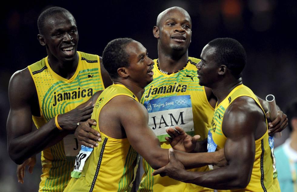 Os jamaicanos Usain Bolt, Michael Frater, Asafa Powell e Nesta Carter