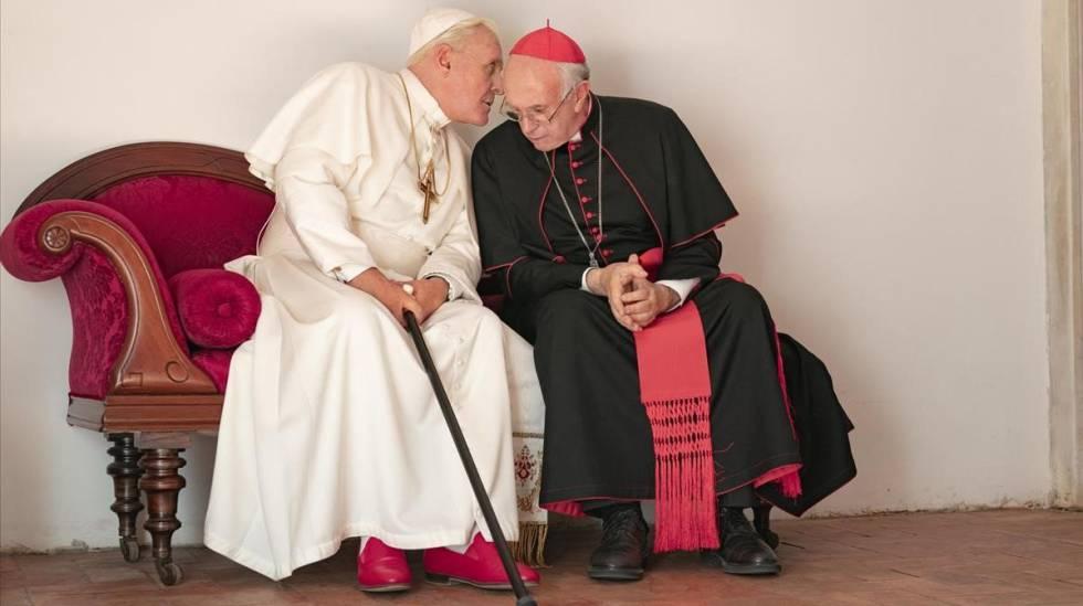 Bento XVI (Anthony Hopkins) e Francisco (Jonathan Pryce), em 'Dois Papas'.