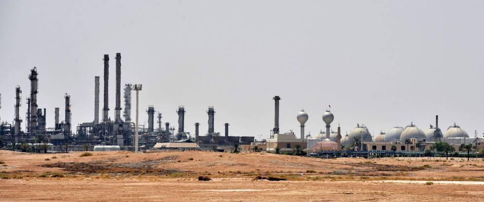 Uma plataforma petrolífera de Aramco, neste domingo cerca de Riad.