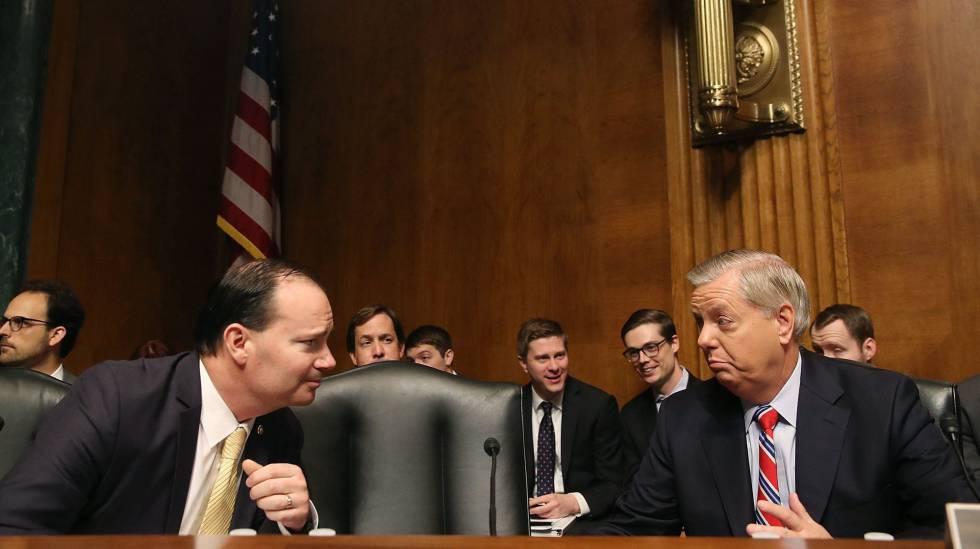 Os senadores Mike Lee e Lindsey Graham.