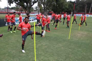 Treino de jogadores do Flamengo.