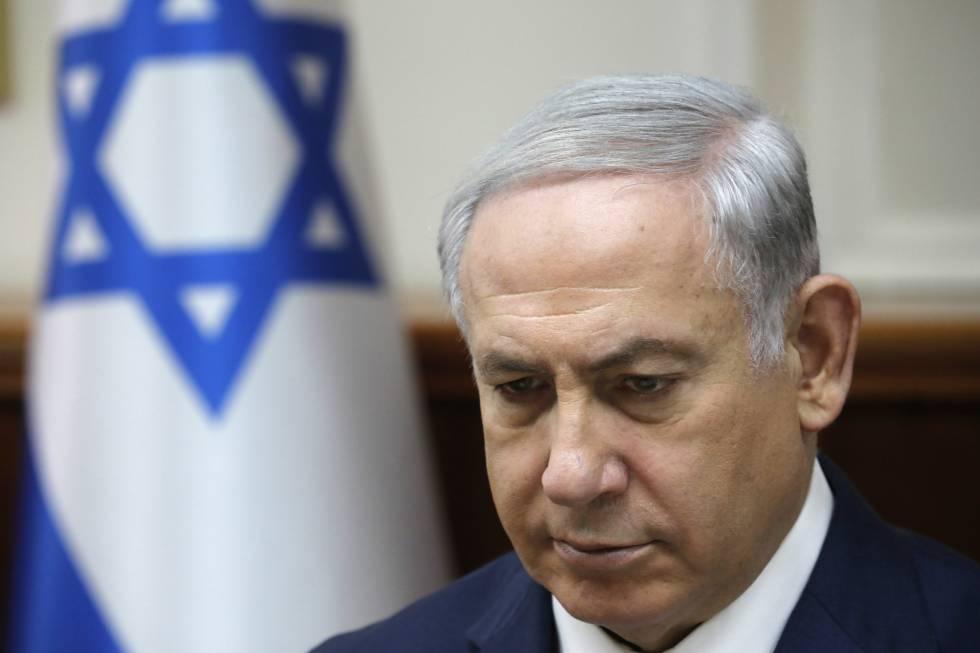 O primeiro-ministro de Israel, Benjamin Netanyahu, na reunião de Governo deste domingo em Jerusalém.