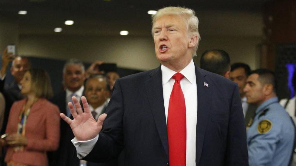 Donald Trump na chegada às Nações Unidas.