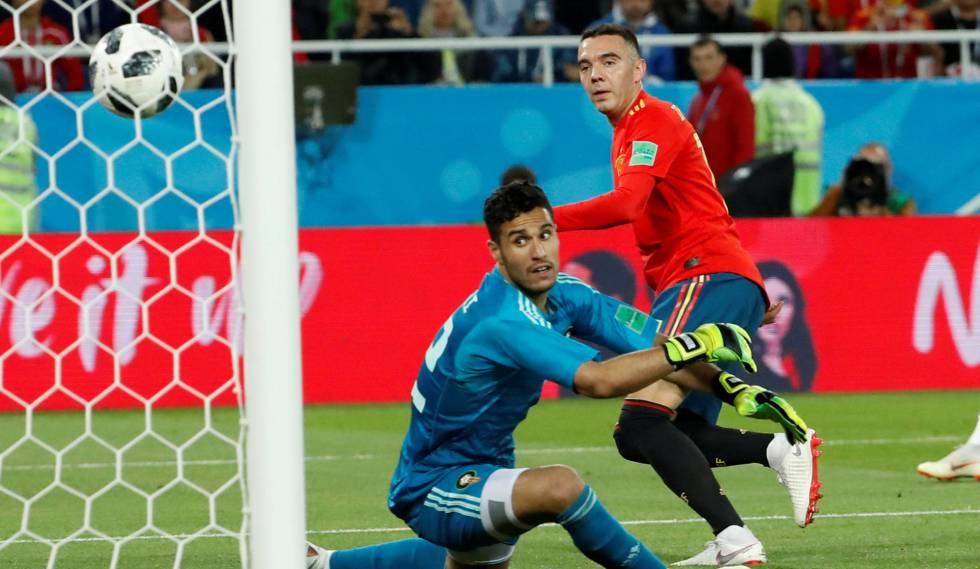 Momento em que Iago Aspas empata a partida nos acréscimos contra o Marrocos.