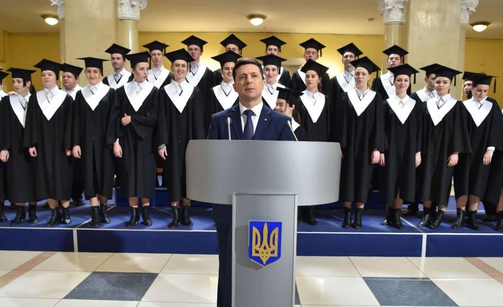 O ator e candidato presidencial ucraniano Volodymyr Zelenskiy em 6 de março, em Kiev