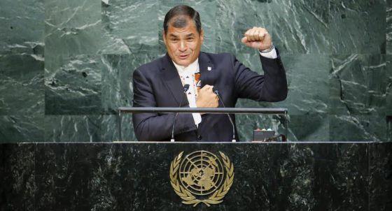 Rafael Correa, na Assembleia Geral da ONU, em setembro.