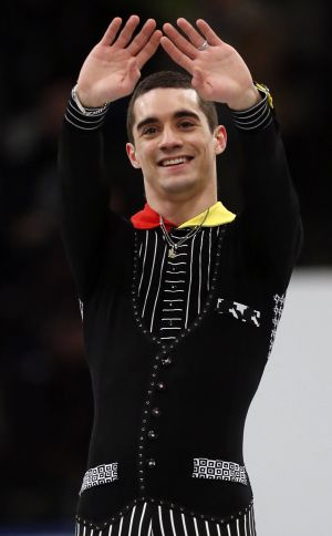 Spain's Javier Fernández greets the audience after competing the in men's short program at the European Figure Skating Championships in Budapest.