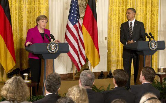 Merkel e Obama, nesta segunda-feira.