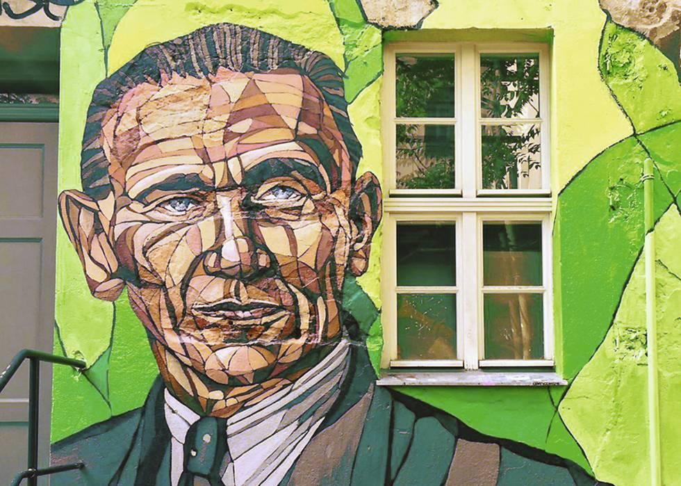 Grafite representando Otto Weidt na entrada do museu dedicado a ele em Berlim.