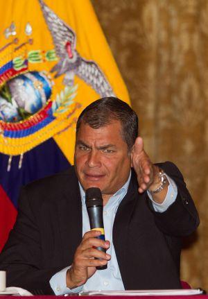 Rafael Correa em um encontro com a imprensa no mês passado.