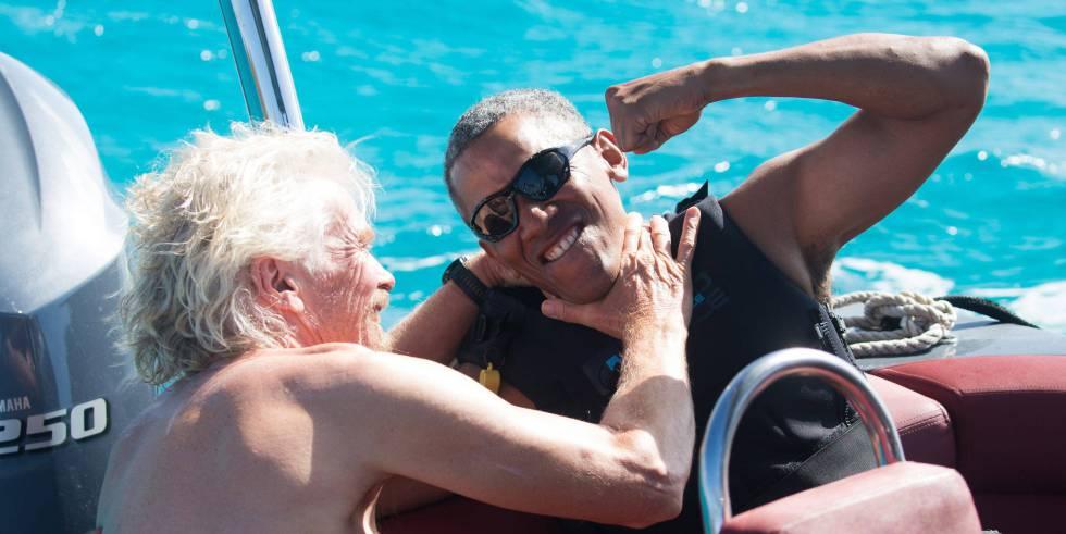 Branson e Obama, num barco da ilha privada do empresário
