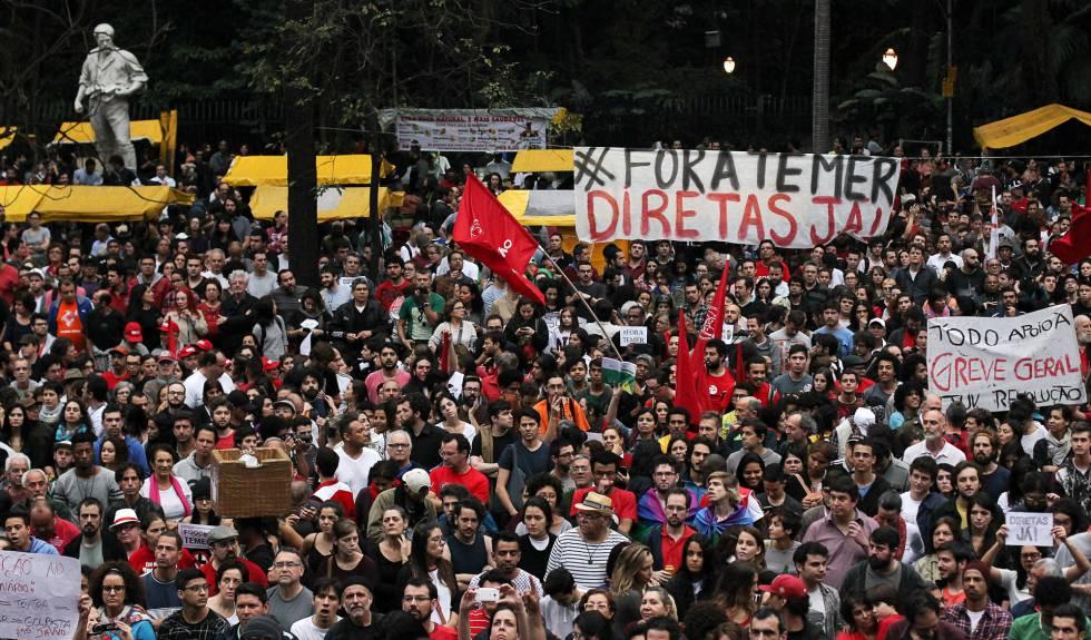 Protesto contra Michel Temer em São Paulo, no último domingo.