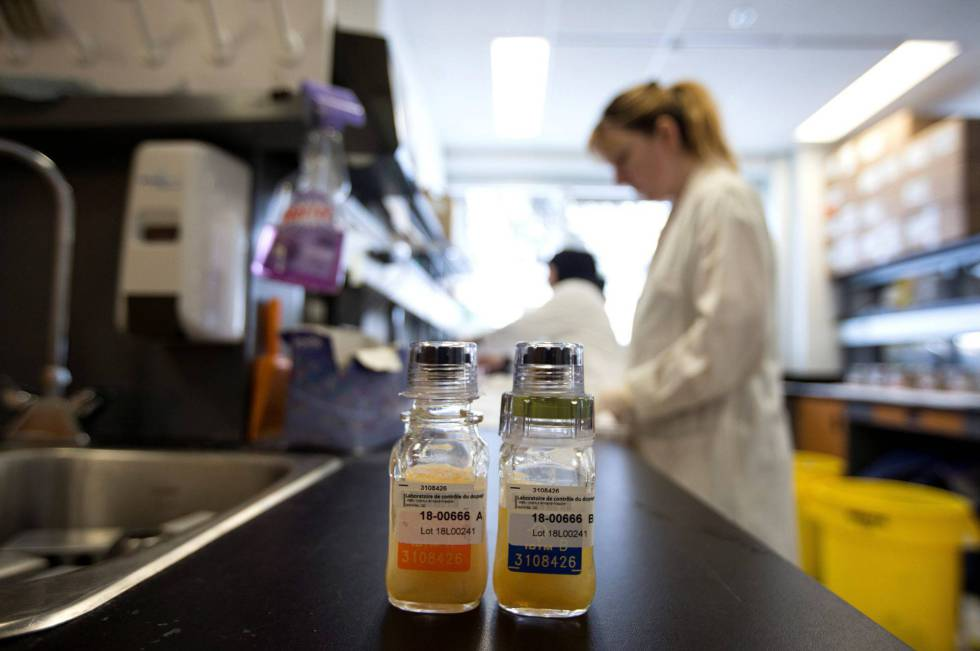 Os frascos Bereg-Kit Geneva no laboratório antidoping de Montreal.