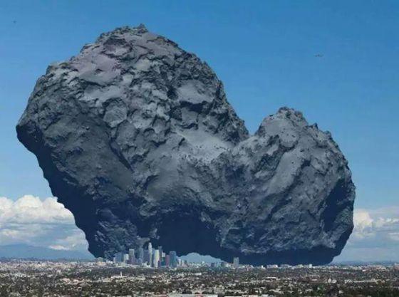 Ilustração compara o tamanho do cometa com a cidade de Los Angeles.