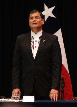 Rafael Correa, presidente do Equador, nesta quarta-feira no Chile.