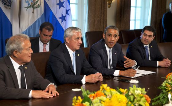Os presidentes de El Salvador, Guatemala, EUA e Honduras.