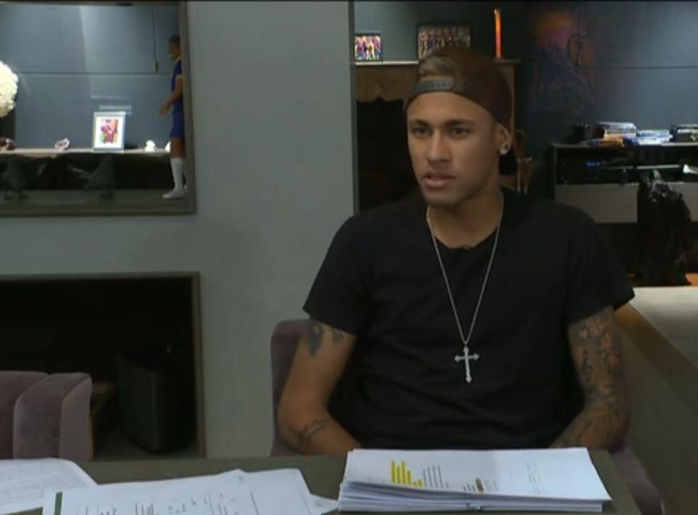 Neymar em entrevista ao 'Fantástico'.