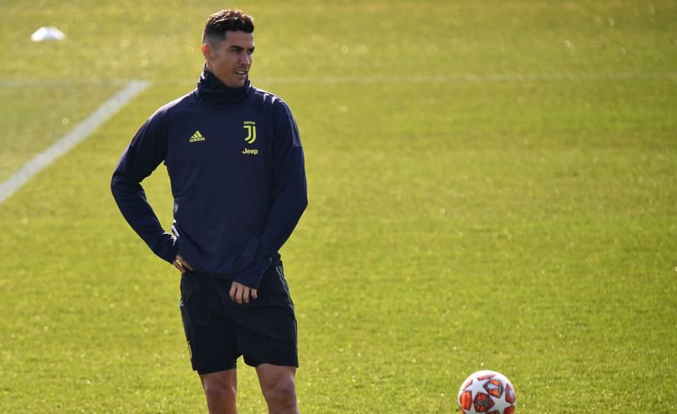 Cristiano Ronaldo treina antes de enfrentar o Atlético de Madrid.