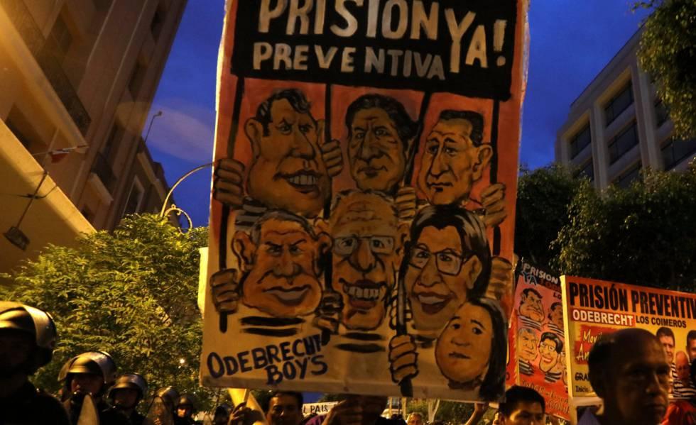 Protesto contra Odebrecht em Lima.