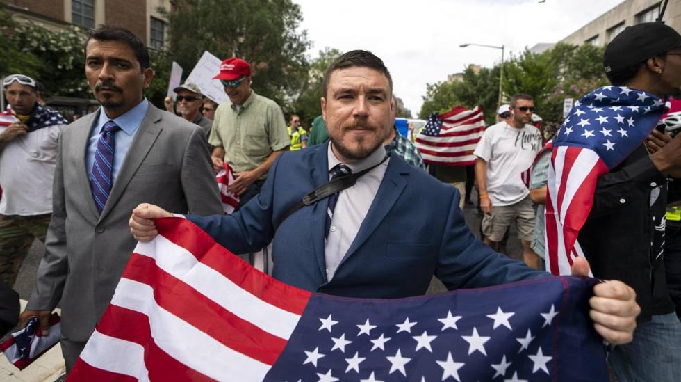 Jason Kessler, o organizador do protesto do ano passado em Charlottesville e deste domingo em Washington.
