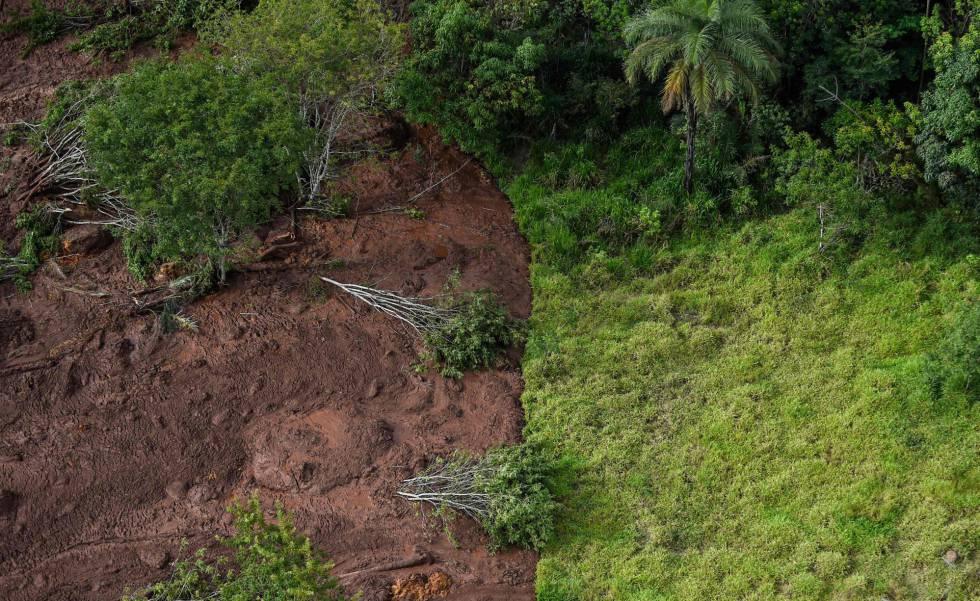 Vista aérea da região de Brumadinho, a 60 km de Belo Horizonte, onde se rompeu a barragem Mina do Feijão.