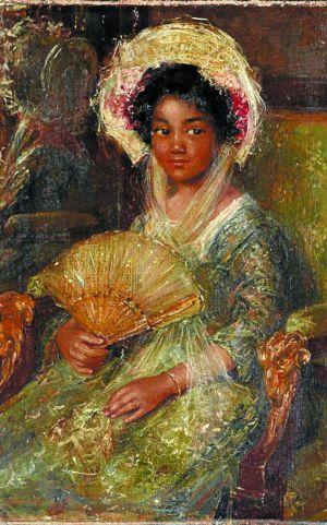 """'Jovenzinha negra"""" (1895-1922), quadro a óleo do pintor holandês Simon Maris"""