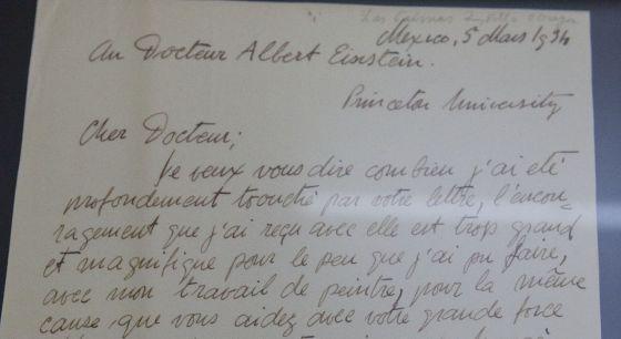 A carta enviada por Rivera a Einstein.