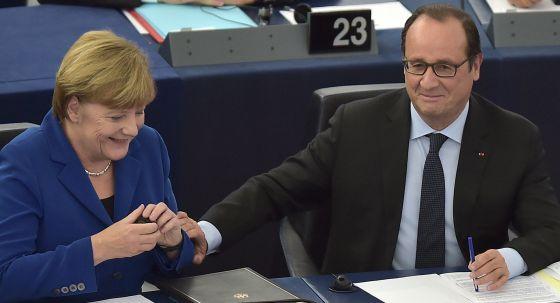 Merkel e Hollande, na quarta-feira em Estrasburgo.