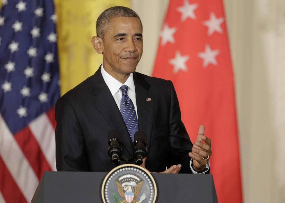 Obama em coletiva de imprensa na Casa Branca.