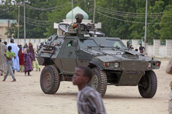 O Exército nigeriano em Maiduri.