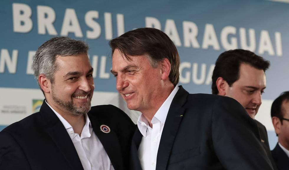 O paraguaio Mario Abdo Benítez e Jair Bolsonaro.