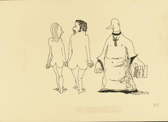 Desenho de John Lennon que será leiloado em Nova York.