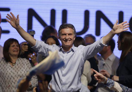 O candidato Mauricio Macri, neste domingo em Buenos Aires.