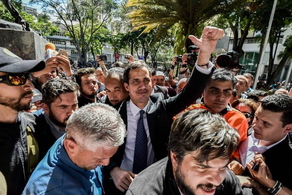 Juan Guaidó nesta sexta-feira em Caracas.