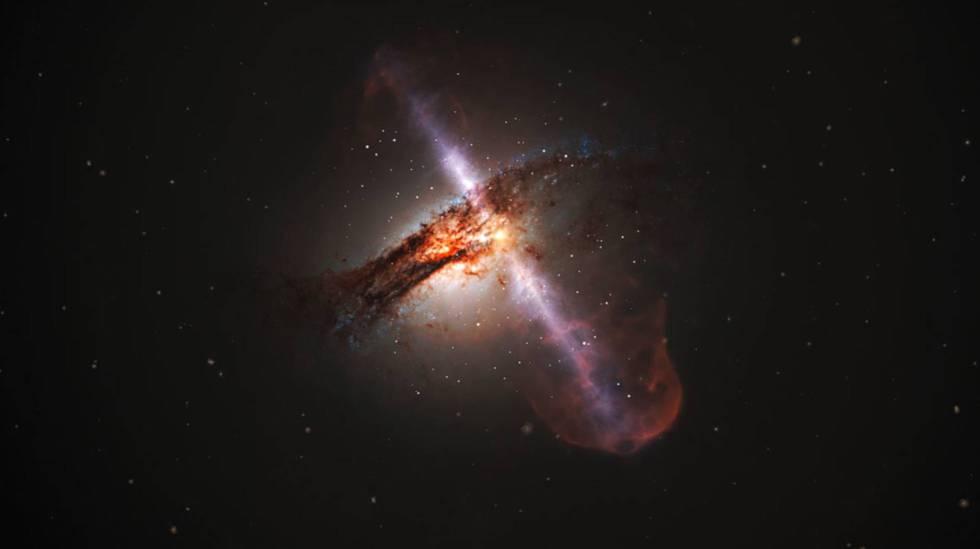 Ilustração de uma galáxia com os jatos de um buraco negro supermassivo