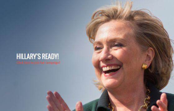 Capa do site de campanha de Clinton: Ready for Hillary – prontos para Hillary.