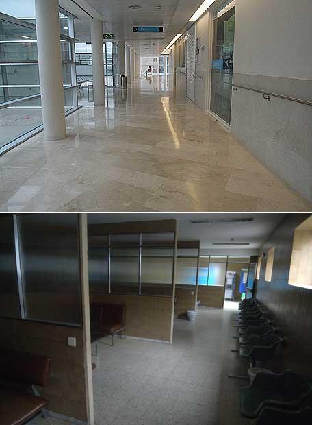 El Marañón es un hospital de contrastes. Arriba, la maternidad de O'Donnell; abajo, el velatorio.