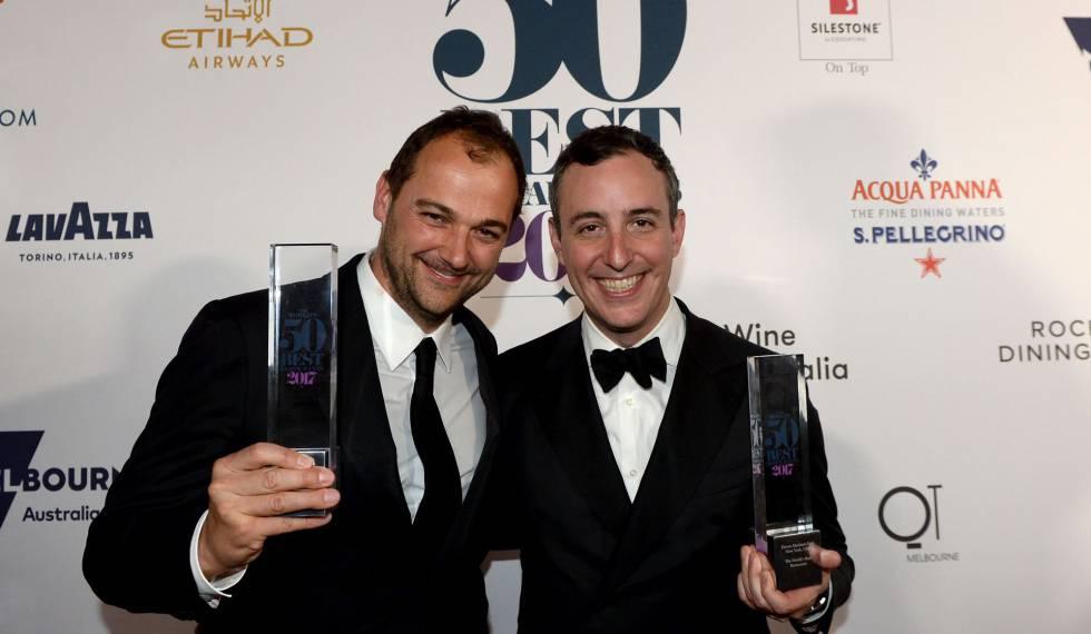 Chef Daniel Humm e Will Guidara (à direita), coproprietário do Eleven Madison Park, nomeado como melhor restaurante.