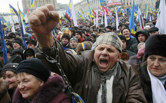 Manifestação de oposição em Kiev.