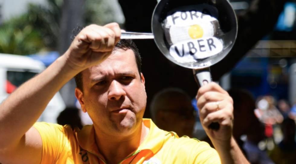 Protesto contra o Uber no Rio.
