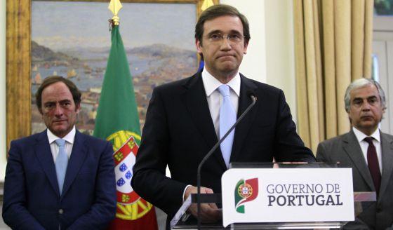"""O primeiro-ministro de Portugal, Pedro Passos Coelho, no momento em que anuncia a saída """"limpa"""" do resgate."""