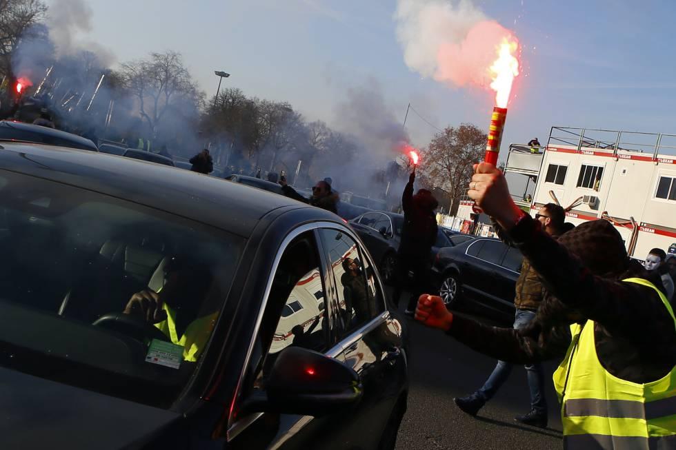 Um dos protestos de motoristas do Uber na semana passada em Paris.
