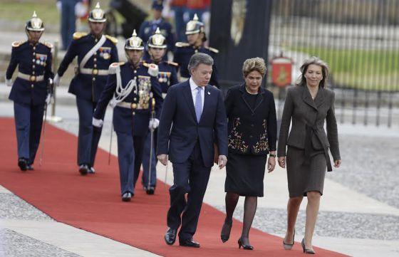 Santos, Rousseff e a primeira-dama da Colômbia, na sexta-feira.