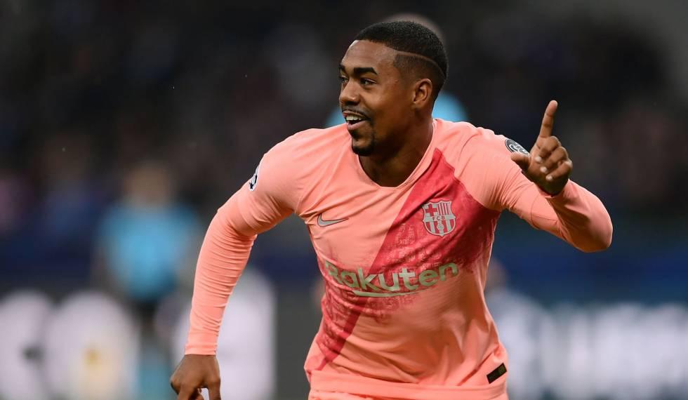 Malcom comemora o gol da classificação do Barça na Itália.