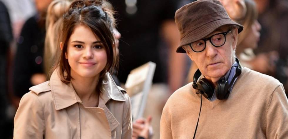 Selena Gomez e Woody Allen em setembro passado durante a filmagem de 'A rainy day in New York'.