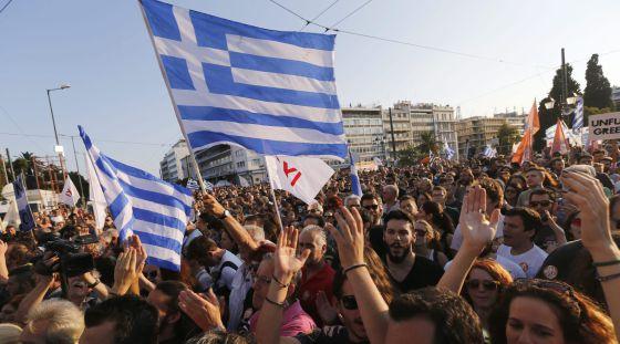 Apoiadores do não fazem protesto em Atenas.