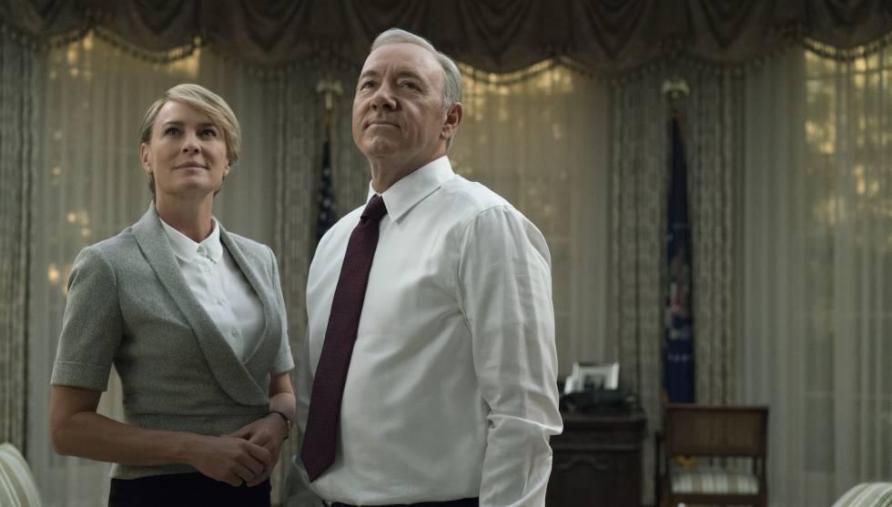 Robin Wright e Kevin Spacey na 5° temporada de 'House of Cards'.