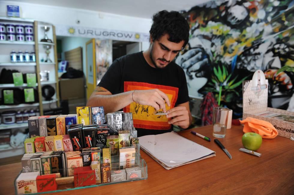 Uma loja em Montevidéu, Uruguai, que se dedica à venda de produtos relacionados ao consumo de maconha.